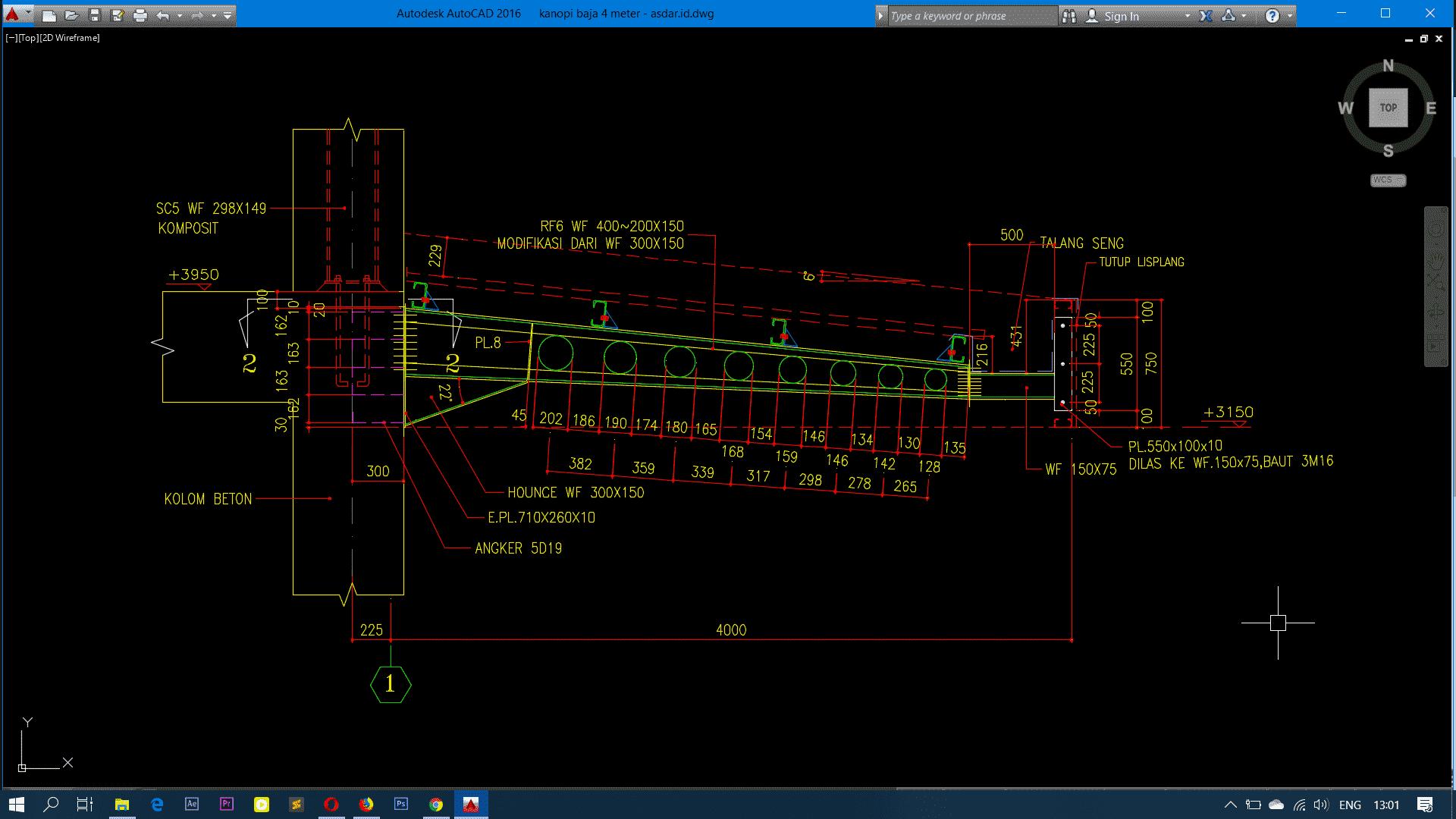 Download Detail Kanopi Baja 4 Meter Dwg Autocad Asdar Id