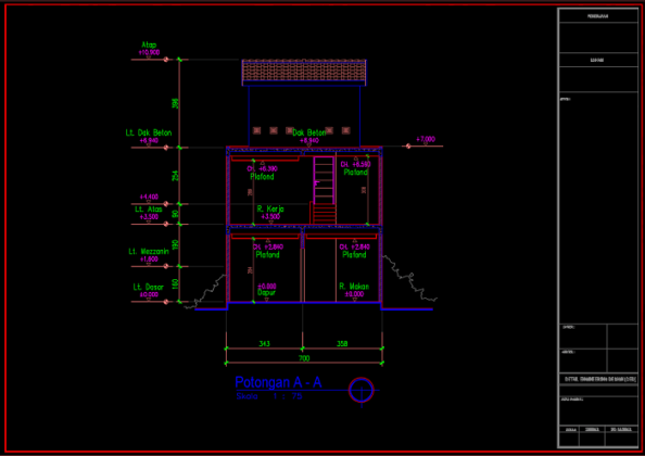 potongan a-a rumah 3 lantai ukuran 7x20 meter