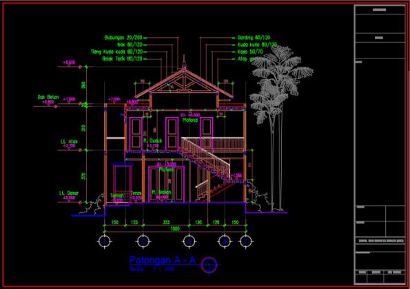 potongan a-a rumah minimalis 2 lantai ukuran 10x20 meter