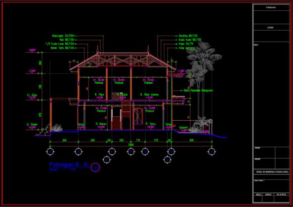 potongan b-b rumah minimalis 2 lantai ukuran 10x20 meter