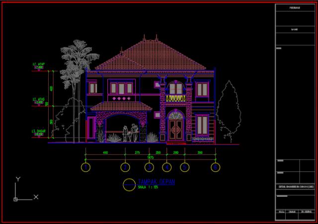rumah 2 lantai uk 14.75m x 28.00m