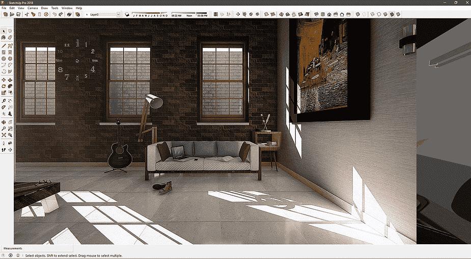 sketchup dengan plugin v-ray