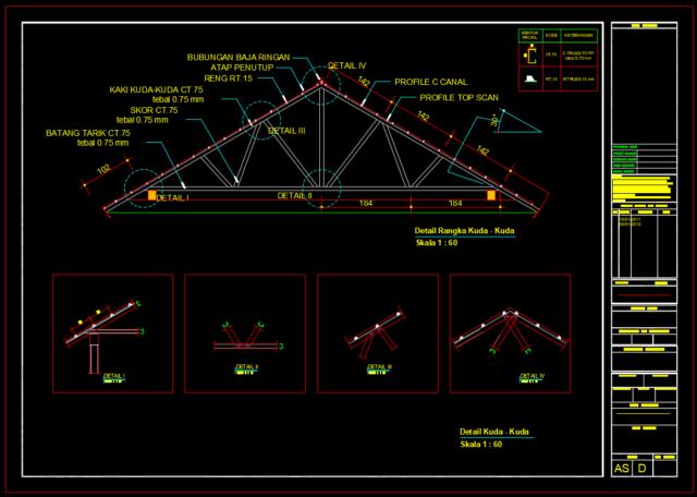 detail segitiga kuda-kuda baja ringan