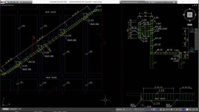 detail pembesian tangga dan ring balok