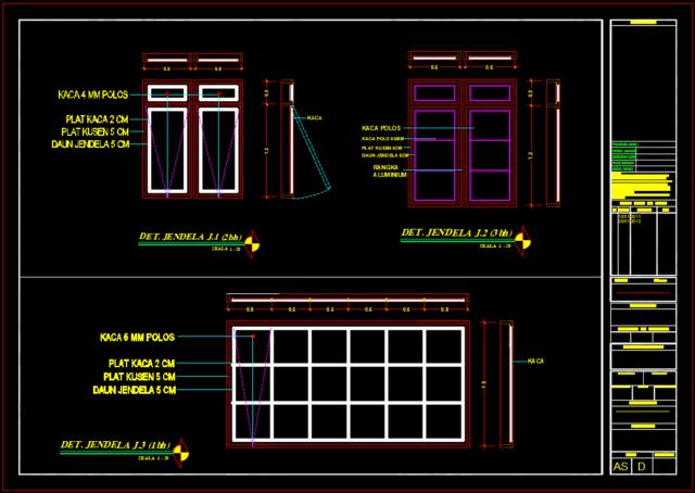 gambar kerja detail jendela