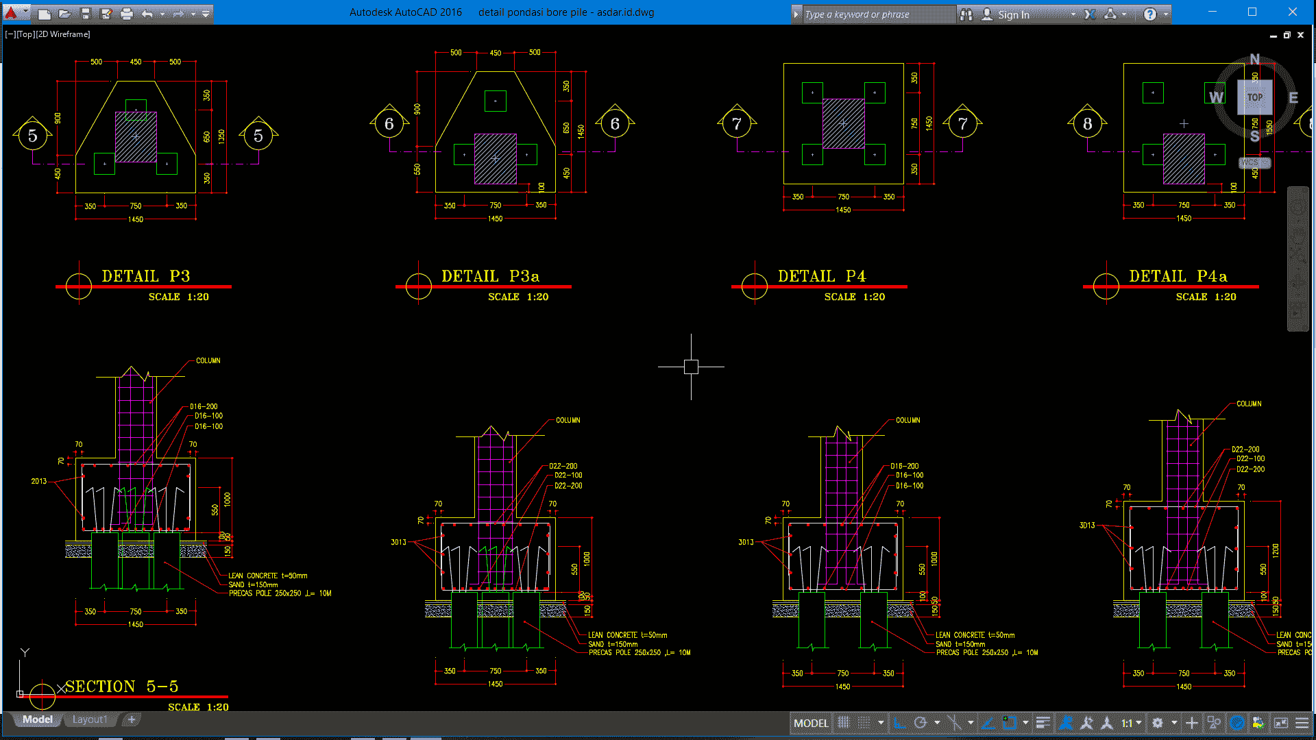 Download Gambar Detail Pondasi Bore Pile Dwg Autocad Asdar Id