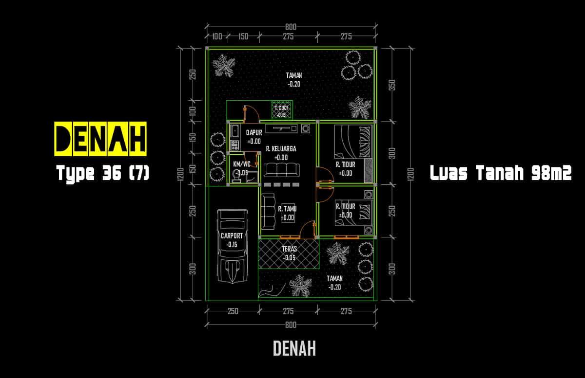 Download Denah Rumah Type 36/98 DWG AutoCAD - Asdar Id
