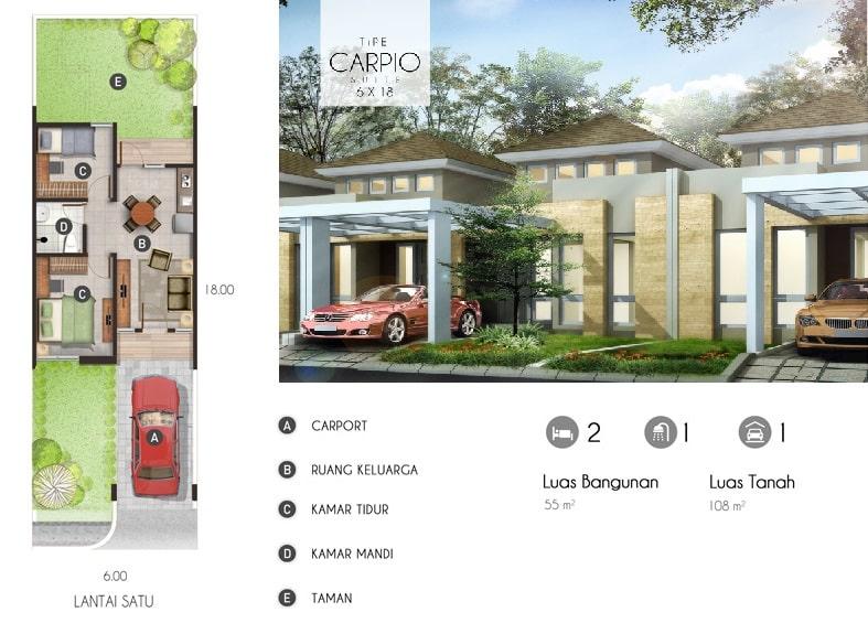 rumah tipe carpio suite 6x18
