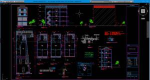 gambar desain arsitektur kantor & hunian 4 lantai